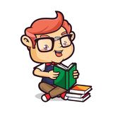 Nerd Geek Reading Books. Cartoon illustration of a cute Nerd Geek, Isolated in white Background royalty free illustration