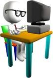 Nerd genius computer user 3D PC monitor desk royalty free illustration