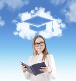 Nerd girl and academic sketch in the sky Royalty Free Stock Photo