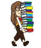 Nerd Girl Carrying Pile of Books Stock Photo