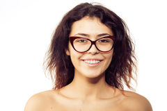Nerd girl in glasses and with brackets on teeth. Positive, excel royalty free stock photo