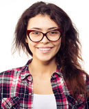 Nerd girl in glasses and with brackets on teeth. Positive, excel royalty free stock image