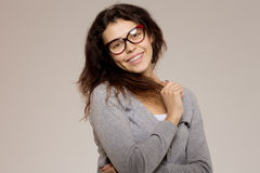 Nerd girl in glasses and with brackets on teeth. Positive, excel royalty free stock photos