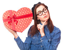 Nerd girl with heart Royalty Free Stock Photography