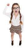Nerd girl screaming Stock Photography