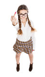 Nerd girl showing middle finger Royalty Free Stock Photos