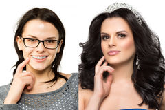 Before after. Nerd girl turns into a beauty queen. Ugly duck. Beauty and success. Transfiguration of the ordinary in a stylish bea. Uty model royalty free stock image