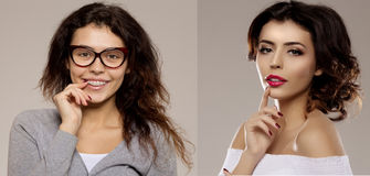 Before after. Nerd girl turns into a beauty queen. Ugly duck. Beauty and success. Transfiguration of the ordinary in a stylish bea. Uty model stock image