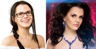 Before after. Nerd girl turns into a beauty queen. Ugly duck. Beauty and success. Transfiguration of the ordinary in a stylish bea. Uty model royalty free stock photos