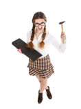 Nerd girl want to destroy a keyboard. Emotions and expressions for person royalty free stock photo