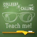 Nerd glasses on the chalkboard with college is. Calling greeting Royalty Free Stock Photo
