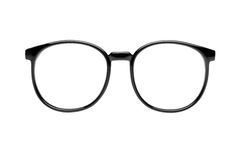 Nerd glasses with clipping path. Photo of black nerd glasses isolated on white with clipping paths for the frames and lenses so you can easily put your own royalty free stock images