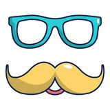Nerd glasses and mustaches icon, cartoon style. Nerd glasses and mustaches icon. Cartoon illustration of nerd glasses and mustaches vector icon for web design Stock Image