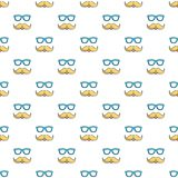 Nerd glasses and mustaches pattern seamless. Nerd glasses and mustaches pattern in cartoon style. Seamless pattern vector illustration Stock Images