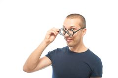 Nerd with glasses Royalty Free Stock Photography