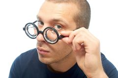 Nerd with glasses Royalty Free Stock Photo