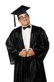 Nerd Graduate With Gown and Mortarboard Royalty Free Stock Photos
