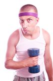 Nerd guy with dumbbells Stock Image