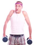 Nerd guy with dumbbells Stock Photography
