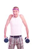 Nerd guy with dumbbells Royalty Free Stock Photos