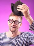 Nerd guy in hat Royalty Free Stock Images
