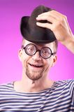 Nerd guy in hat Stock Photography