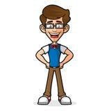 Nerd Guy Posing en het Glimlachen vector illustratie