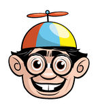 Nerd head with a propellor hat Stock Photos
