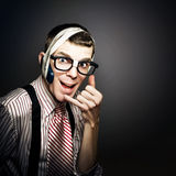 Nerd IT Help Desk Phone Operator Over Copyspace Royalty Free Stock Photos