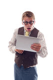 Nerd with his tablet Royalty Free Stock Photos