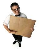 Nerd Holding Blank Cardboard Stock Photos