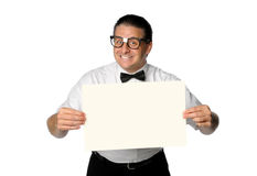 Nerd Holding Blank Sign Royalty Free Stock Images