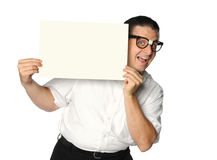 Nerd Holding Blank Sign Stock Photo