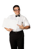 Nerd Holding Blank Sign Stock Photography