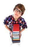Nerd holding books Stock Photography