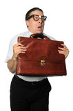 Nerd Holding Briefcase Stock Images