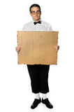 Nerd Holding Cardboard Stock Images