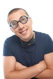 Nerd i glasögon och fluga royaltyfria bilder