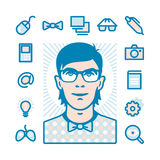 Nerd Icon set Stock Photo