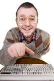Nerd with keyboard Stock Photography