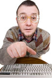 Nerd with keyboard Stock Images