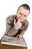Nerd with keyboard Stock Image