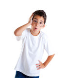 Nerd kid with glasses and silly expression Stock Images