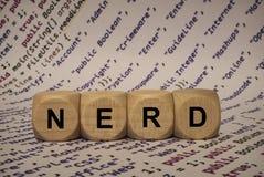Nerd - kub med bokstäver och ord från datoren, programvara, internetkategorier, träkuber royaltyfri fotografi