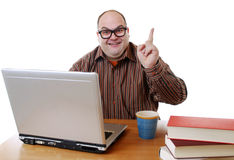 Nerd with laptop royalty free stock photo