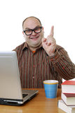 Nerd with laptop Royalty Free Stock Photography