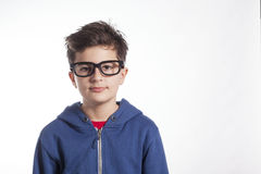 Nerd Looking Little Boy Wearing Large Black Glasses Stock Photos