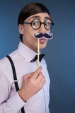 Nerd making a face. Royalty Free Stock Image