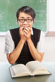 Nerd male student. Nerd Chinese male student in the classroom doing stupid pose Royalty Free Stock Images