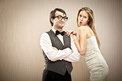 Nerd man boyfriend courts his love girlfriend Stock Photos